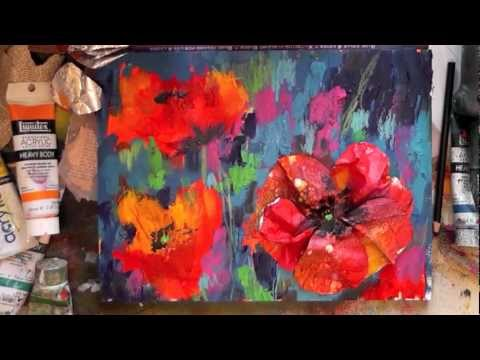 mixed media poppies demo