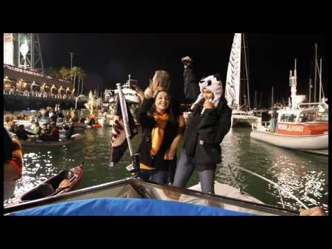 Crazy GIANTS boat party in McCovey Cove after victory - World Series 2010