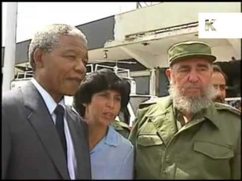 Nelson Mandela with Fidel Castro in Cuba, 1991