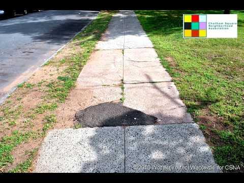 YouTube - Chatham Square Park - Deteriorated sidewalk documentation