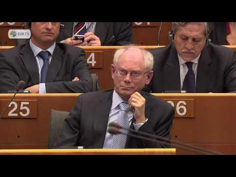 Nigel Farage harangues EU President Herman van Rompuy