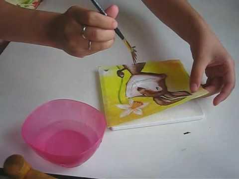 Κολλημα χρτοπετσέτας με πινελο βεντάλια