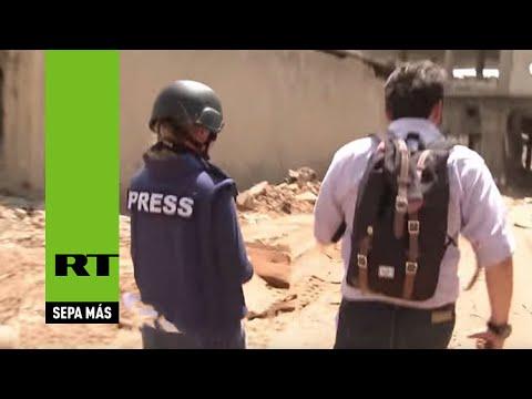Un equipo de RT cae bajo fuego de artillería durante una grabación en Siria