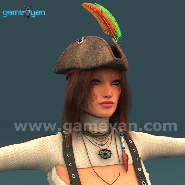 Angela 3D Woman Pirates Character Rigging by Post Production Animation Studio