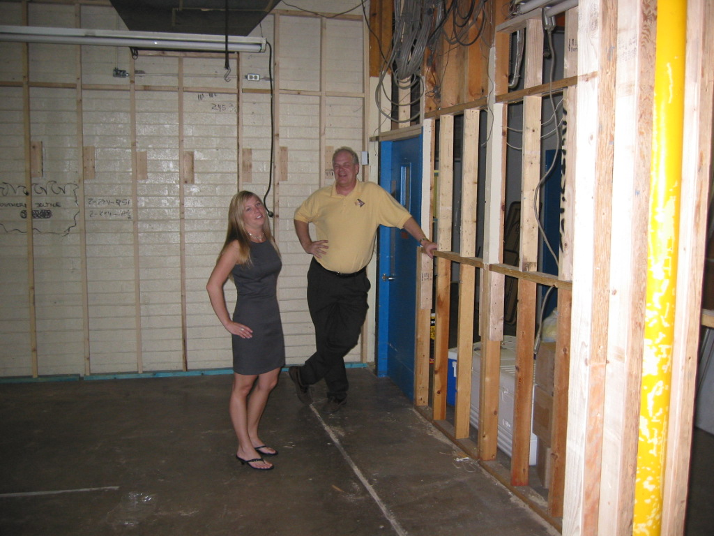 Kelly Slaughter and Mike Gordon observe New and Expanded Courtesy Chevrolet BDC under construction in 2006
