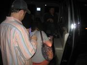 Jesse Biter's entourage gets into the HomeNet Limo leaving The Blue Martini at Digital Dealer Conference - April 2008