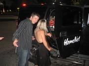 Jesse Biter and girlfriend get into the HomeNet Limo to escort their entourage back to the Gaylord Palms after the HomeNet VIP after-party at The Blue Martini - Digital Dealer Conference April 2008