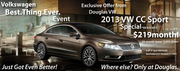 2013 VW CC Sport Only $219 mo! Union Co. NJ`s Select VW Dealer has your Labor Day Deals! Where else? Only at Douglas!