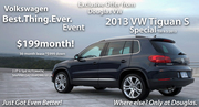 2013 VW Tiguan Only $199 mo! Union Co. NJ`s Select VW Dealer has your Labor Day Deals! Where else? Only at Douglas!