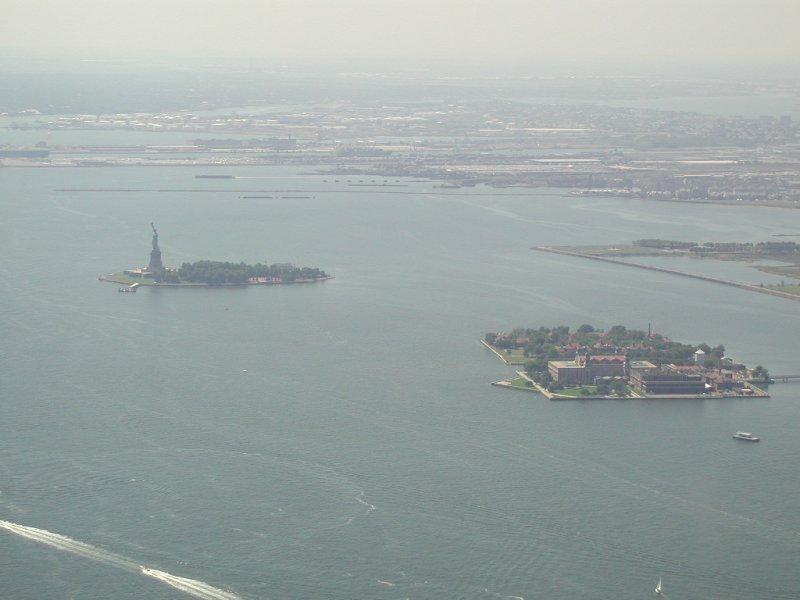 Statue of Liberty seen from top of World Trade Center Twin Towers on September 4, 2001