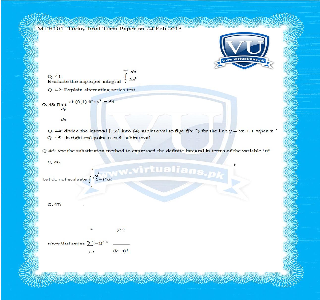 mth101 final term paper 2013