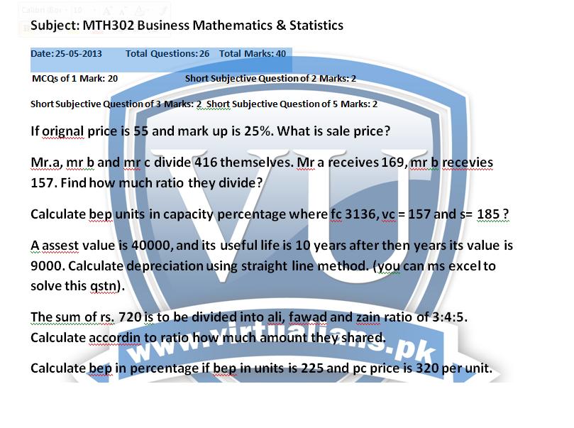 mth302 business mathematics  u0026 statistics all current mid