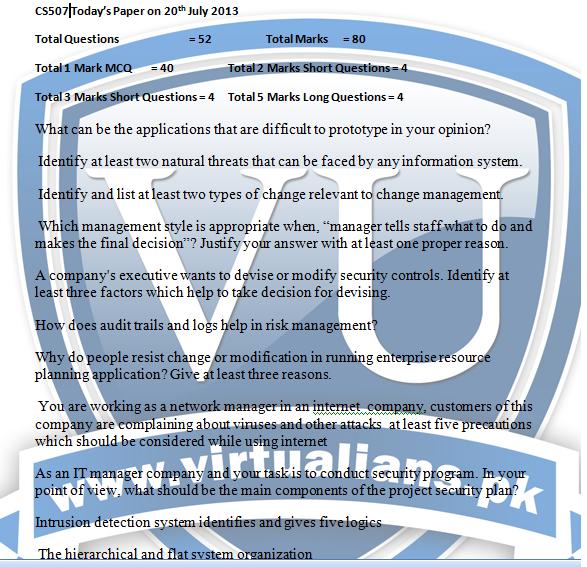 cs507 current final term paper 2013