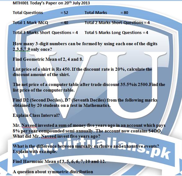 mth001 final term paper 2013