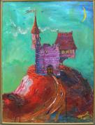 фиолетовый замок на красной горе на гранатовой мгле
