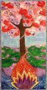"""""""Древо счастья"""" для Гульмиры и ее семьи, холст, акрил 40х80, 24.01.13"""