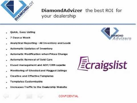 DiamodAdvizer The Best Automated Craigslist Listing Tool For Auto Dealerships DiamondLot Consulting