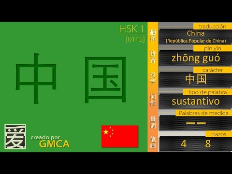 ¿cómo se dice CHINA en Chino? 中国 (HSK 1)
