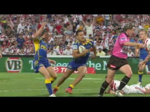 Jarryd Hayne try - Dragons vs Eels