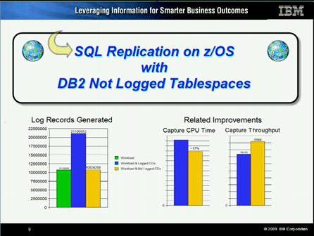 Reduce SQL Replication Overhead on z/OS with Not Logged Tablespaces