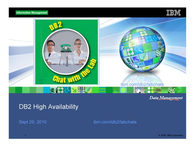 DB2 High Availability / Chat with the Lab