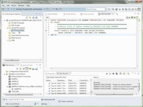 Data Studio Tutorial 4  - Create, run, deploy, and debug a stored procedure