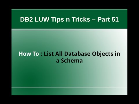 DB2 Tips n Tricks Part 51 - How To List all Database Objects in a Schema