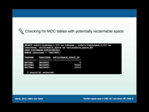 Reclaim space easy in DB2 v9.7 and show off!