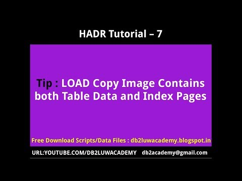 HADR Tutorial Part 7 - LOAD Copy Image contains both Table Data and Index Pages