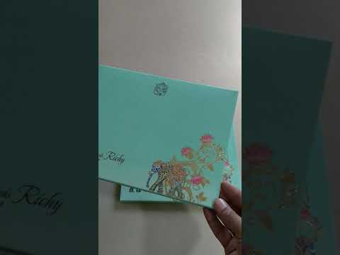 Extremely gorgeous sea green laser cut indian elephant wedding invitation