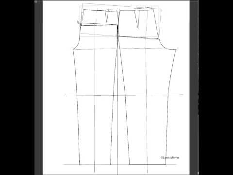 Pant pattern adjustment for forward tilted hips