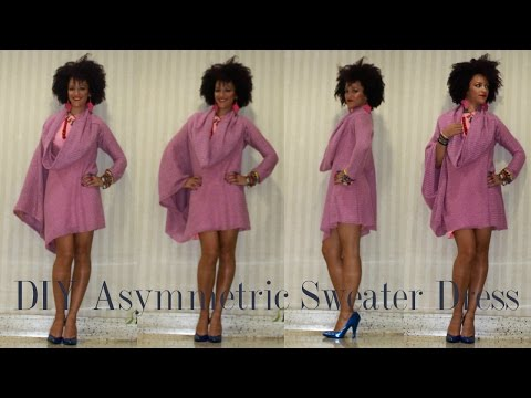 DIY Asymmetrical Sweater Dress + Shop Fabrics Online with Pink Chocolate Break!