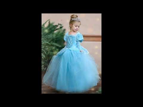 Girls Fancy Deluxe Cinderella Inspired Ball Gown Dress Halloween Costume
