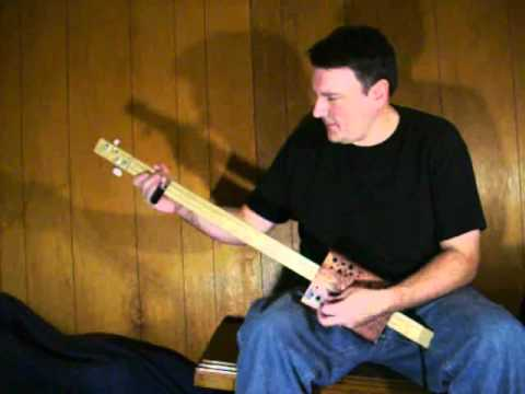 """Unfinished Balance Between Melody and Noise"" Two String Cigar Box Fretless Guitar Mark Stowe"