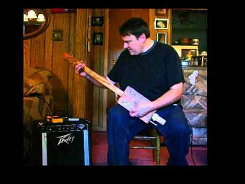 Texas Blues Rock Tone on a 3 String Homemade Fretless Cigar Box Guitar CBG