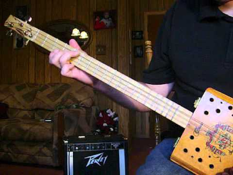"""Lazy Blues Rhythm"" 3 String Cigar Box GUITAR Homemade CBG project"