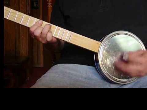 3 String Homemade CANJO Cookie Tin Tenor Banjo Dixieland Style Rhythm