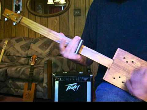 Blues Rock Rhythm on a 3 String CBG Fretless Slide Homemade  CIGAR BOX GUITAR