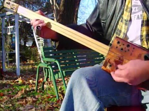 2 string fretless Cigar Box GUITAR