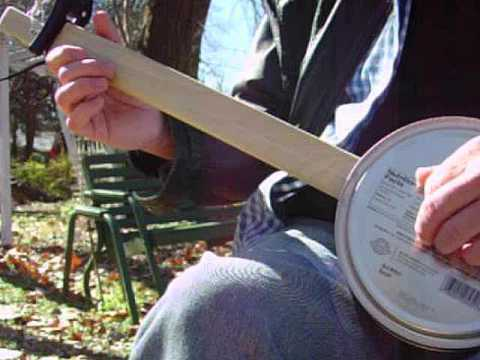Cookie Tin CANJO Homemade Fretless 1 String Mutant Banjo