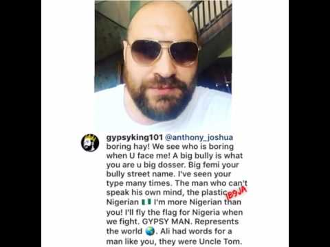 I'm more Nigerian than you, Tyson Fury blasts Anthony Joshua for calling him a boring fighter