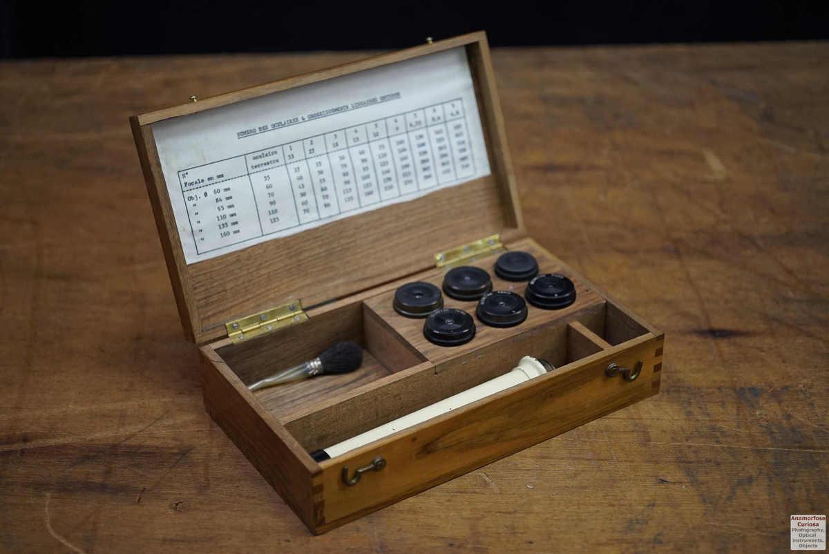 Secretan, box with 7 telescope eyepieces 1950's