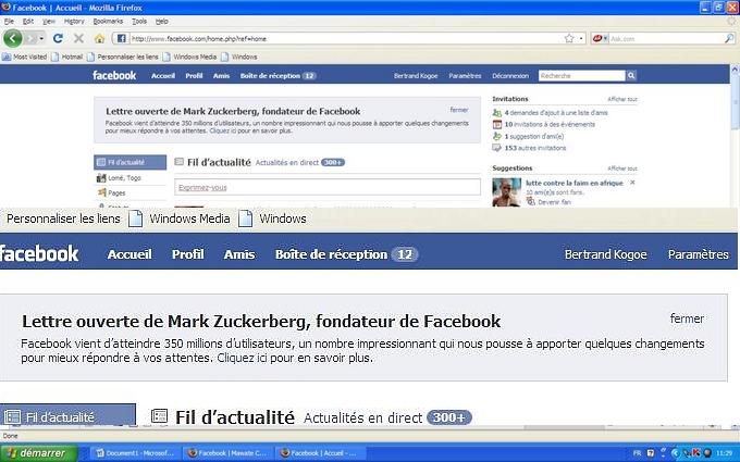 Facebook à 350 millions d'utilisateurs