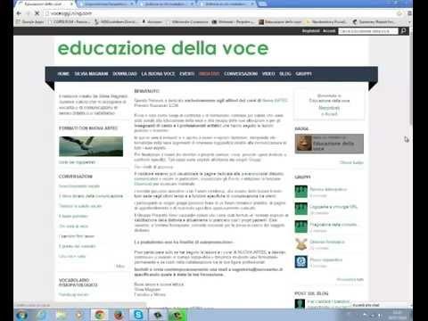 Nuova ARTEC Network Educazione della voce: funzionalità della home page