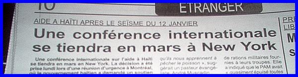 aide a haiti apres le seisme du 12 janvier