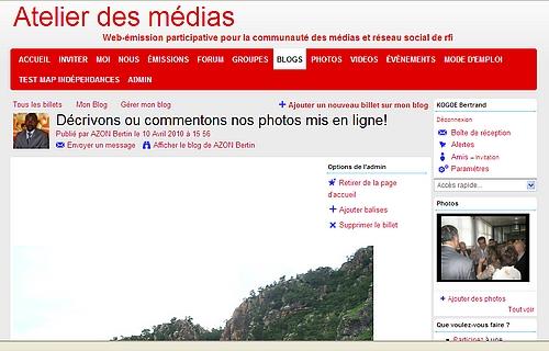 Impression écran d'une page de l'ADM écrite par AZON Bertin