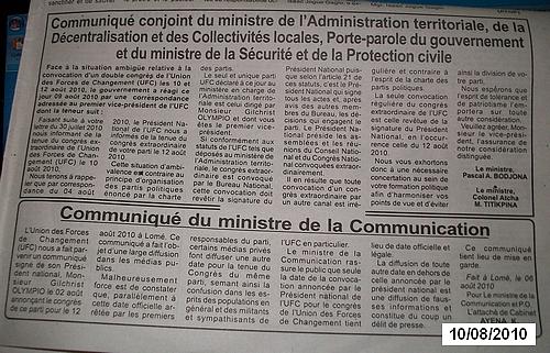 communiques du gouvernement togolais contre l'UFC version FRAC