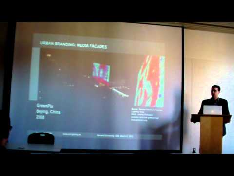 Harvard lecture about urban branding: Media facades and their luminous tweets