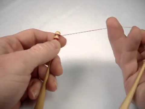 Putting Half Hitch on bobbin for Bobbin Lacemaking