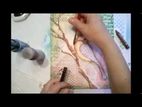 Birdie Mixed Media Canvas by Gabrielle Pollaco